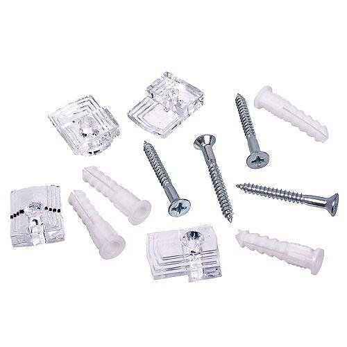 Clips pour rétroviseurs de 1/8 po 20 lb maxi transparents - 4 ensembles