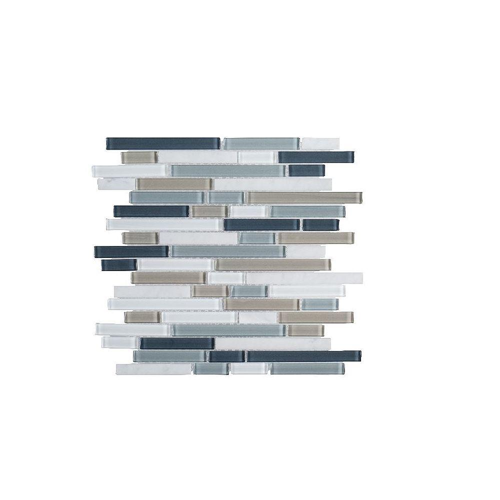 Jeffrey Court Fer plaqué 11.625 po x 11.875 po x 6 mm Mosaïque en verre / métal
