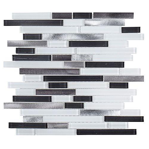 Jeffrey Court 11.6-inch x 11.9-inch x 6mm Boxcar Glass/Metal Mosaic Tile