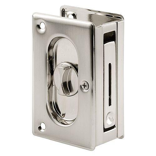Prime-Line Loquet de porte d'intimité encloisonnée avec tirette, 3-3/4 po. Fini de nickel satiné