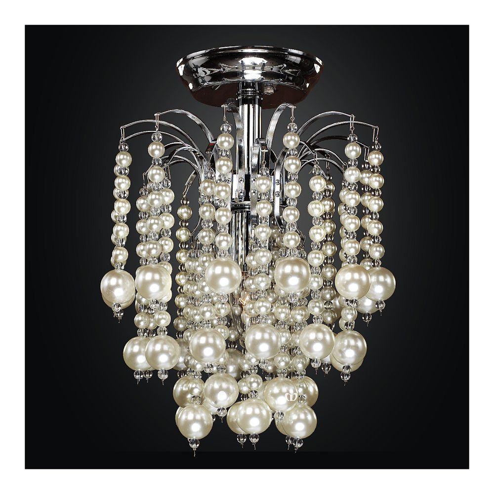 Glow Lighting 10 Inch Cascading Faux Pearl Bead Flush Mount Asti 644