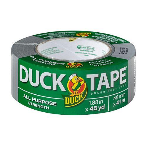 Duck Brand Ruban adhésif tout usage de marque Duct Tape Argenté, 48 mm x 41m (1,88po x 45verges)