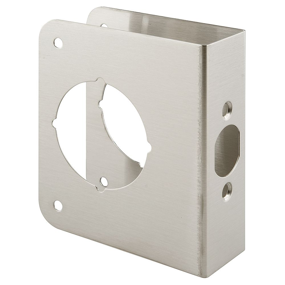 Prime-Line 1-3/8 in. x 4-1/2 in. Thick Solid Brass Lock and Door Reinforcer, 2-1/8 in. Single Bore, 2-3/8 in. Backset