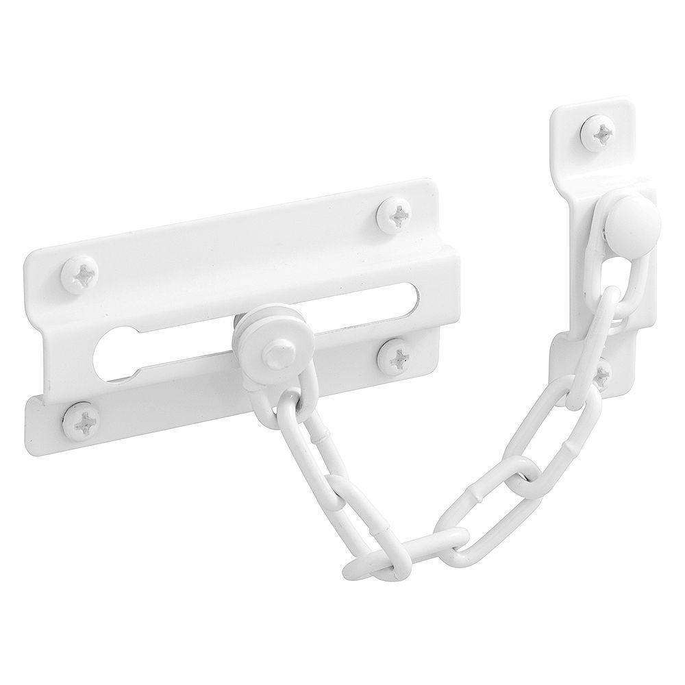 Prime-Line Chain Door Guard, Diecast, White Finish