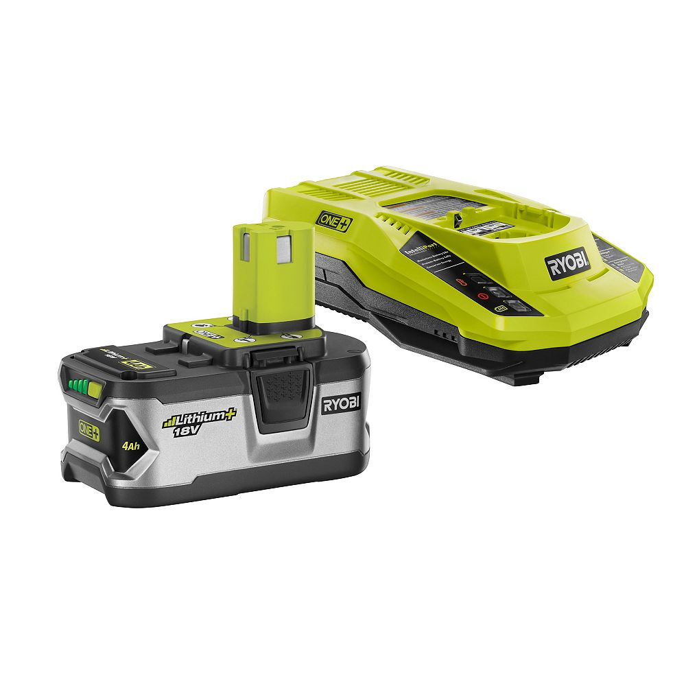 RYOBI 18V ONE+ Lithium-Ion 4.0 Ah LITHIUM+ Battery and IntelliPort Charger Starter Kit