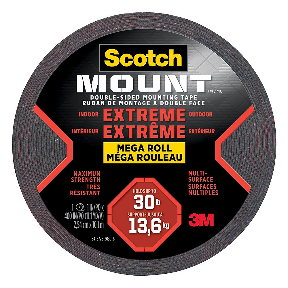 Scotch Scotch-Mount Extreme Double-Sided Mounting Tape Mega Roll 414H-LONGDC-EF, Black, 1 in x 400 in (2.54 cm x 10.1 m), 1 Roll/Pack