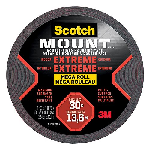 Scotch-Mount Extreme Double-Sided Mounting Tape Mega Roll 414H-LONGDC-EF, Black, 1 in x 400 in (2.54 cm x 10.1 m), 1 Roll/Pack