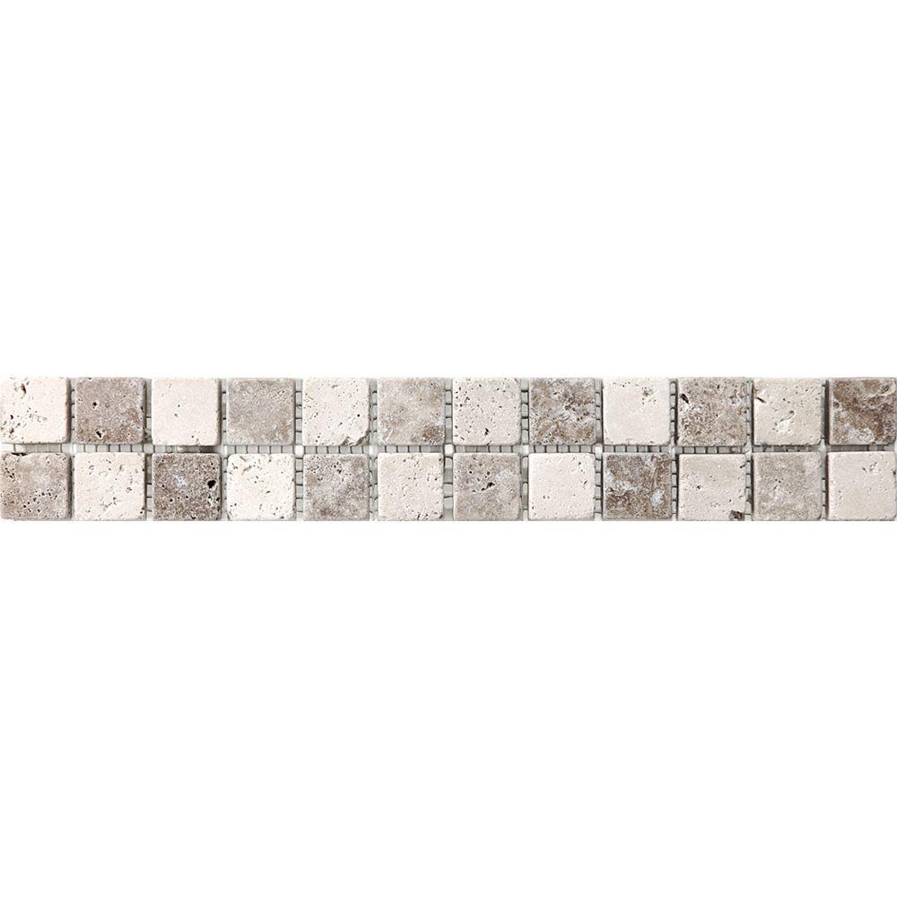 Enigma 2-Inch x 12-Inch Chiaro Noce Checkerboard Listello Tile