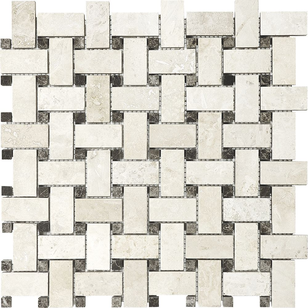 Enigma 12.5-Inch x 12.5-Inch Basketweave Mosaic Tile in Ivory Travertine