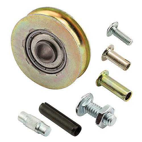 Ensemble de roulette et axe, 1-1/4 po., roulement à billes d'acier, rainure centrale.