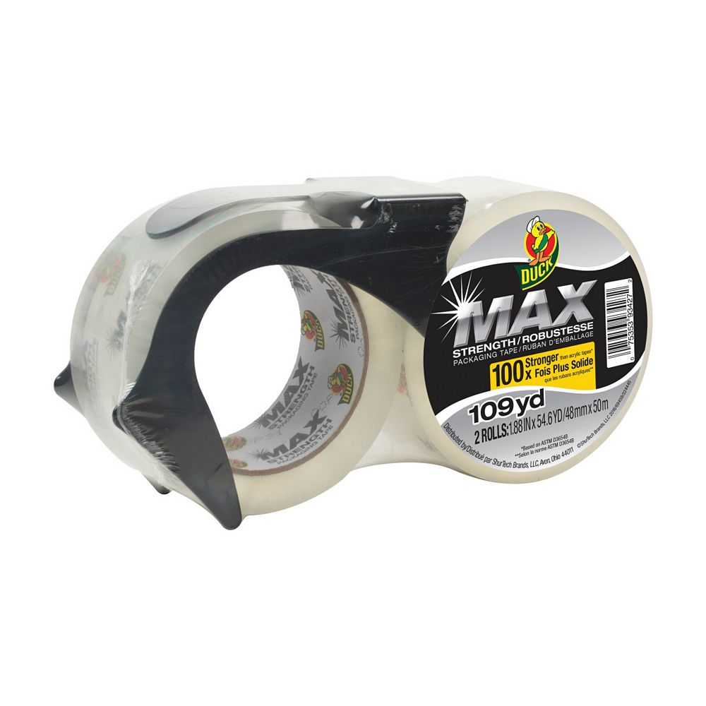 Duck Brand MAX Strength Packaging Tape With Dispenser, 1.88 inch x 54.6 yds., Clear (2-Pack)