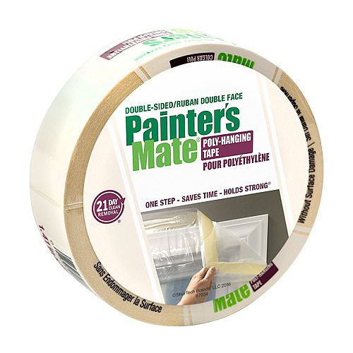 Double-Sided Poly-Hanging Tape - White, 1.41 Inch x 25 Yard
