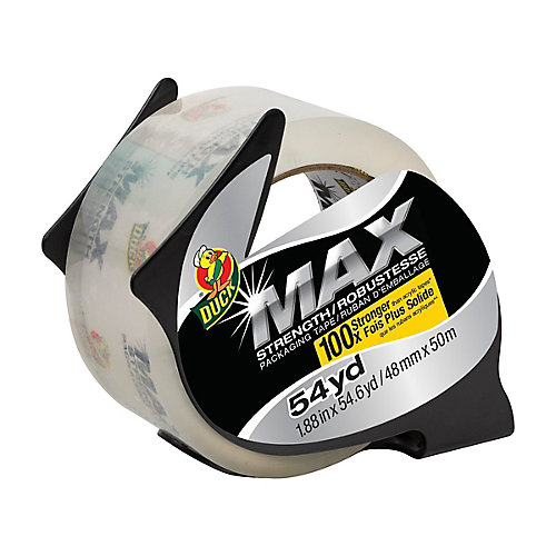 MAX Strength Packaging Tape With Dispenser, 1.88 inch x 54.6 yds., Clear