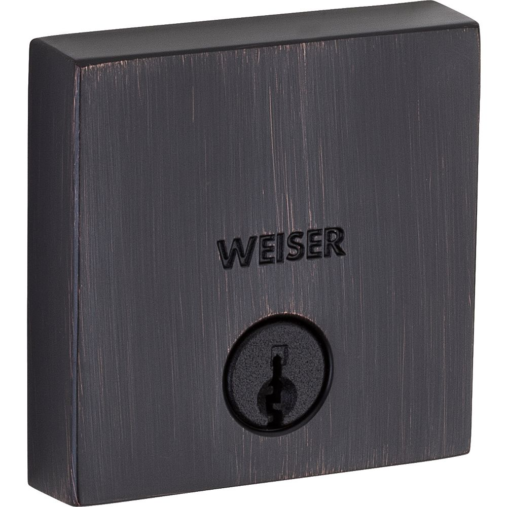 Weiser Low Profile Single Cylinder Sqaure Deadbolt in Venetian Bronze