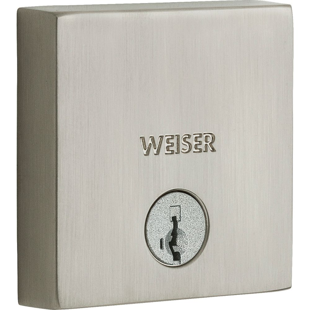 Weiser Low Profile Single Cylinder Square Deadbolt in Satin Nickel
