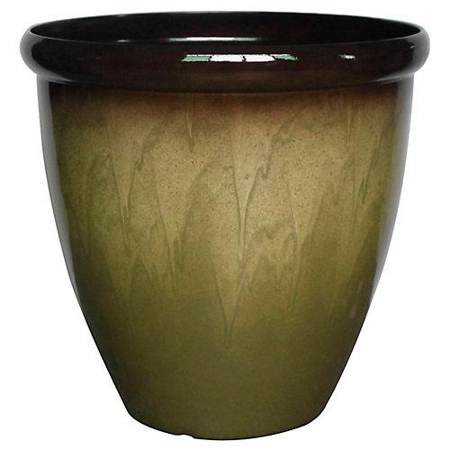 Pot à fleurs, forme d'uf, fausse céramique, 18 po, beige