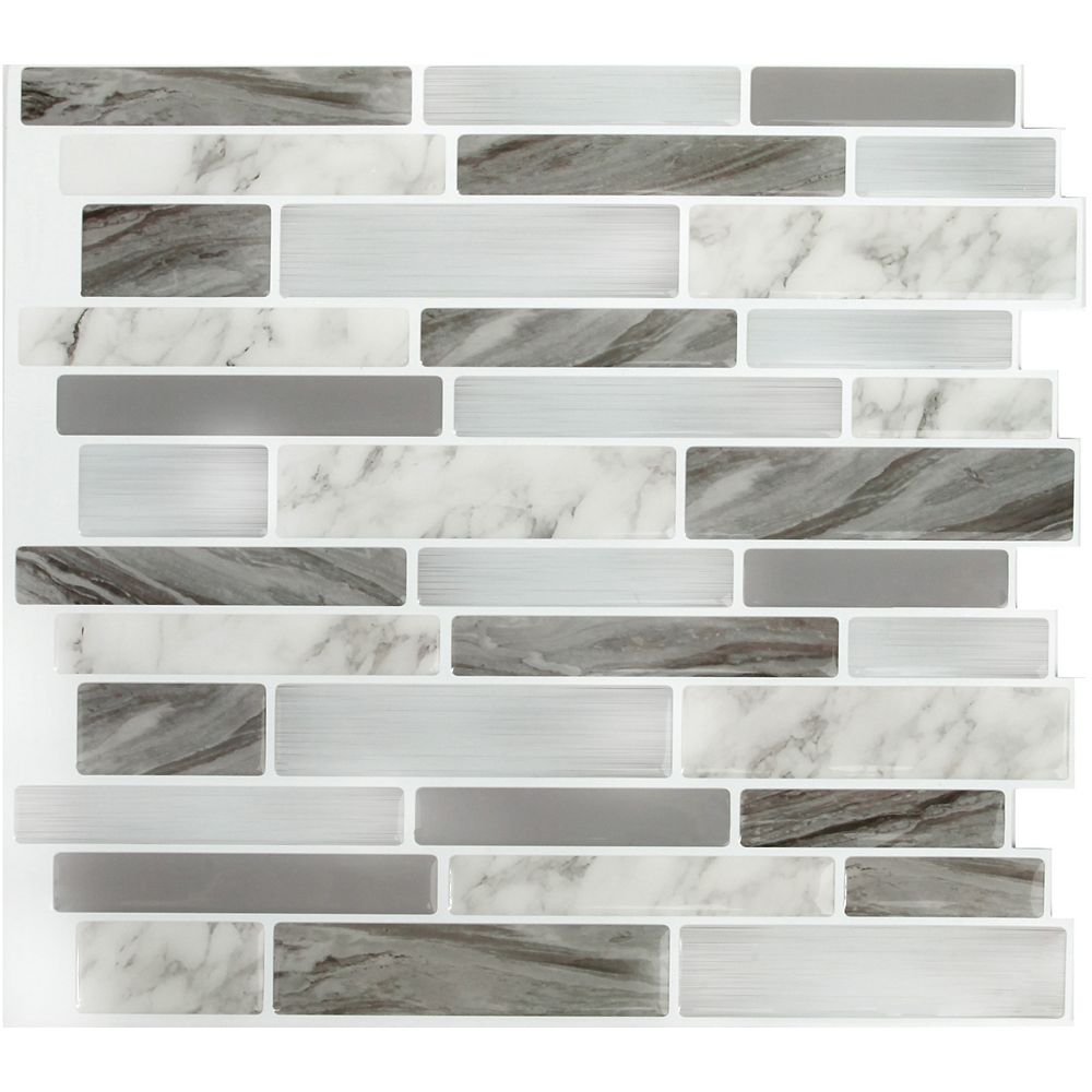 Stick It Tiles Marble Grey Obl Peel And Stick It 11 25x10 8 Pack The Home Depot Canada
