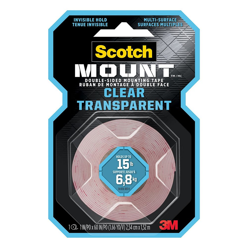 Scotch Scotch-Mount Double-Sided Mounting Tape 410H-DC-EF, Clear, 1 in x 60 in (2.54 cm x 1.52 m), 1 Roll/Pack