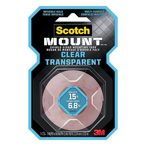 Scotch-Mount Double-Sided Mounting Tape 410H-DC-EF, Clear, 1 in x 60 in (2.54 cm x 1.52 m), 1 Roll/Pack