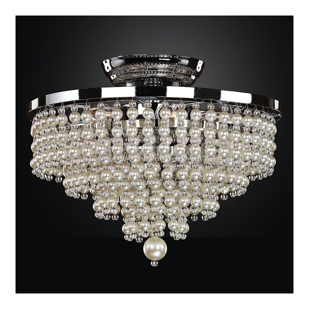 Glow Lighting 13 Inch Faux Pearl Bead Flush Mount Cava 639