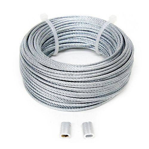 1/16 inch x 50 ft. 7x7 Galvanized Aircraft Cable with 1/16 inch  Aluminum Sleeves x2 - Packaged