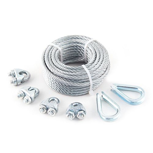 3/32 inch x 1/8 inch x 50 ft. 7x7 Vinyl Coated Aircraft Cable with 4 Wire Rope Clips and 2 Thimbles