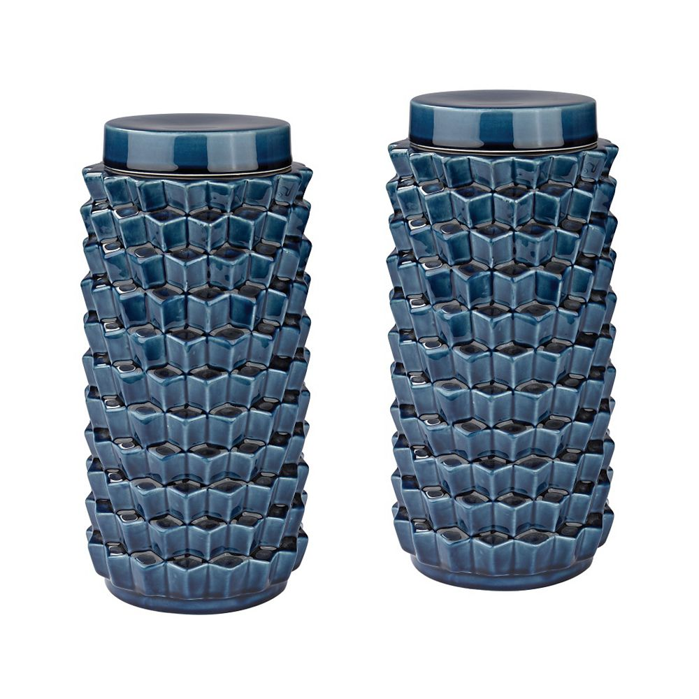 Titan Lighting Accordion Crackled Blue Jar