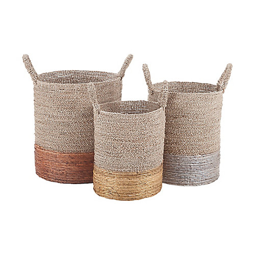 Mixed Metallics Leather Nested Decorative Baskets (Set of 3)