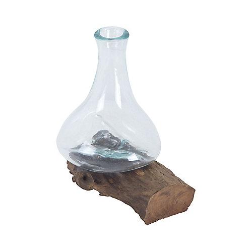 Vase Jetsam de Racine de teck et verre - grand