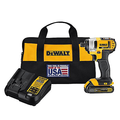 20V MAX Lithium-Ion Cordless 1/4-inch Impact Driver with (1) 20V Battery 1.3Ah, Charger and Tool Bag