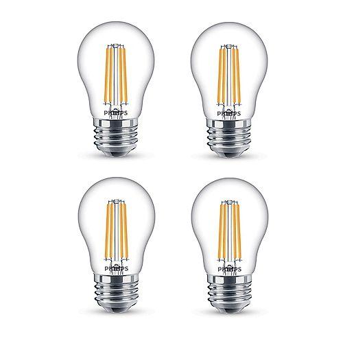 Philips Ampoule DEL à filament A15, équivalence de 25 W, 2 200 K, transparent, ens. de 4