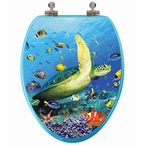 Topseat High Res 3D Image Sea Turtle Elongated, Regular Close. Chromed Metal Hinges