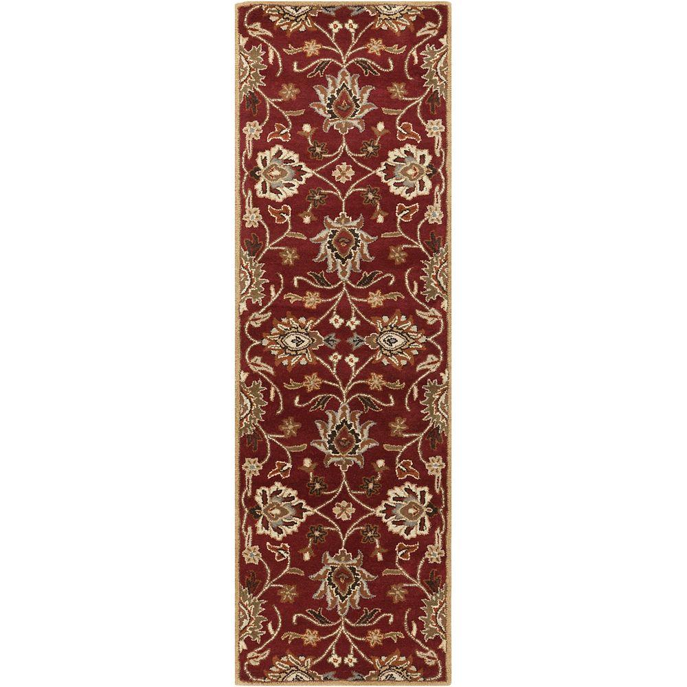 Artistic Weavers Cambrai Burgundy 3 Feet x 12 Feet Indoor Runner