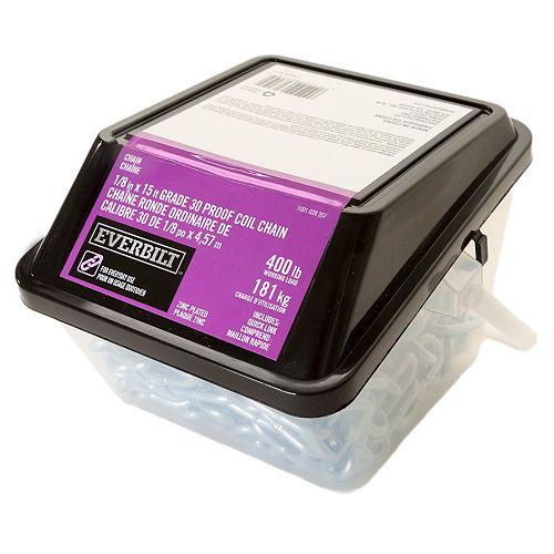 1/8 po x 15 pi Chaîne grade 30 galvanisé plaqué zinc avec maillon rapide 1/8 po -Tube Grab 'N Go