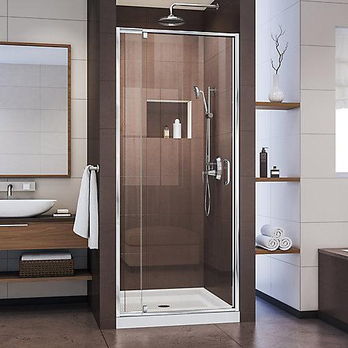 Flex 32-inch x 32-inch x 74.75-inch Framed Pivot Shower Door in Chrome with Center Drain White Acrylic Base