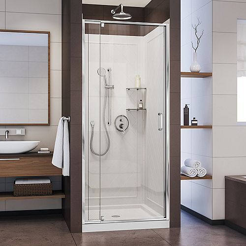 DreamLine Flex 36-inch x 36-inch x 76.75-inch Pivot Shower Kit Door in Chrome with Center Drain White Acrylic Base and Back Walls Kit