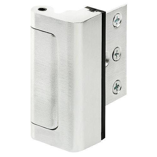 High Security Door Reinforcement Lock, 3 inch Stop, Aluminum Construction, Brushed Chrome Finish