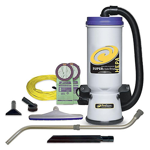 Super CoachVac 9.5 L (10 qt.) HEPA Commercial Backpack Vacuum Cleaner