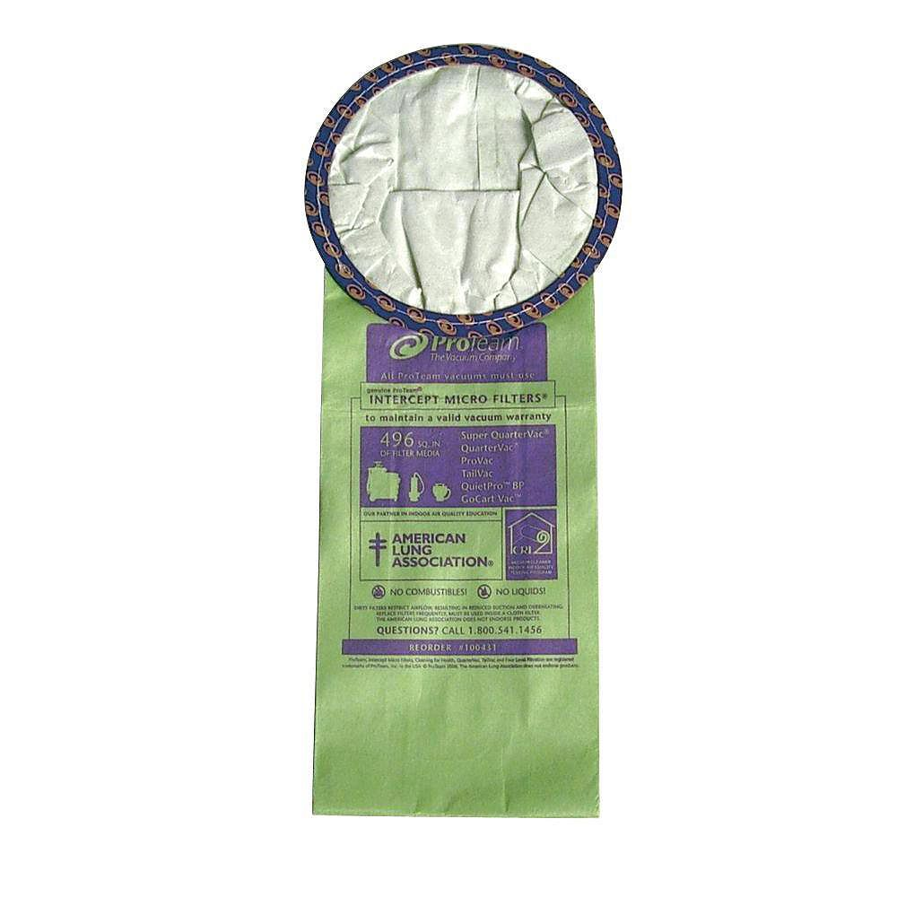 ProTeam Sac filtrant Intercept Micro avec orifice ouvert pour aspirateurs Super QuarterVac - Paquet de 10