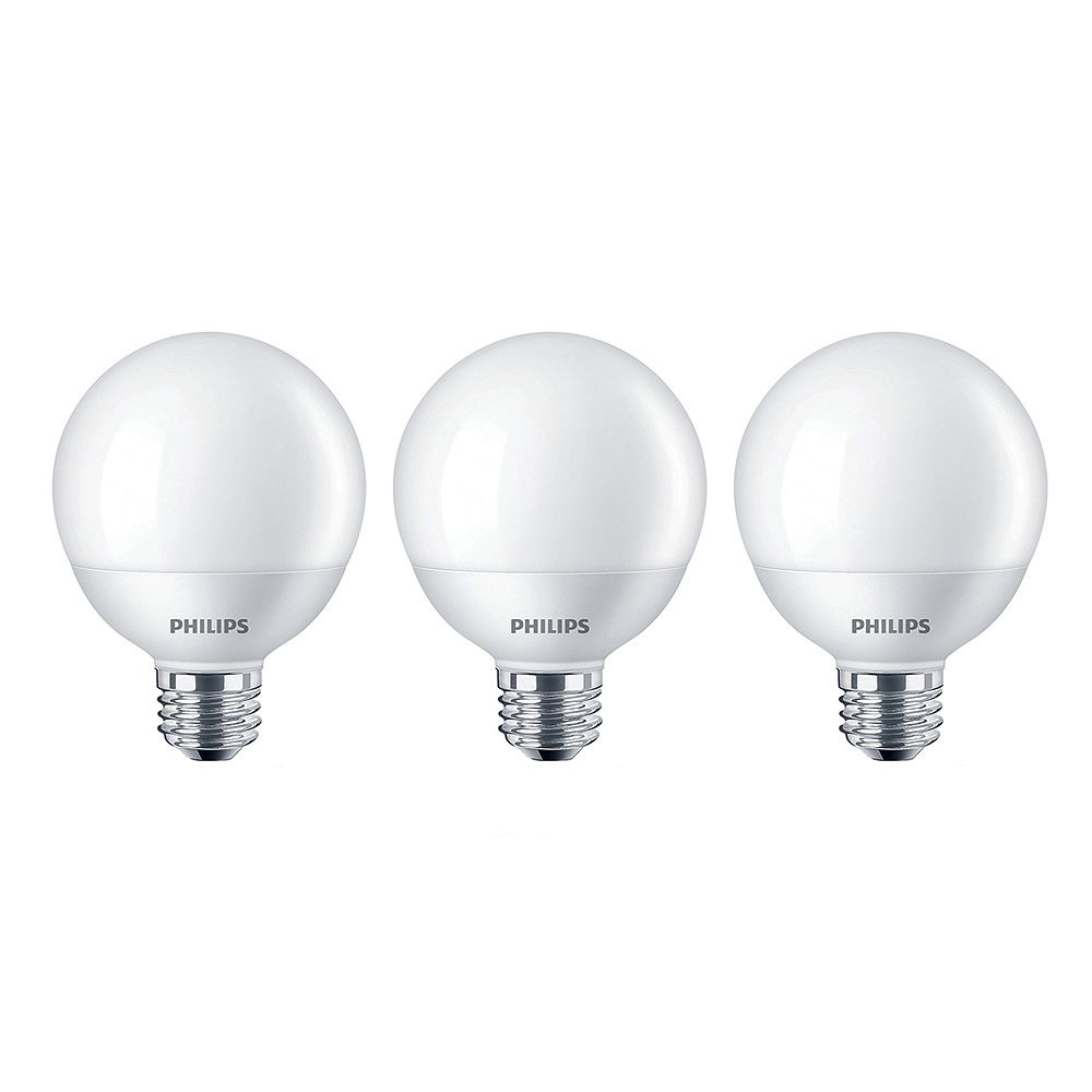 Philips 60W Equivalent Soft White (2700K) G25 LED Light Bulb (3-Pack)
