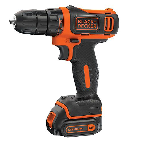 BLACK+DECKER 12V MAX Lithium-Ion Cordless 3/8-inch Drill with Battery 1.5Ah and Charger