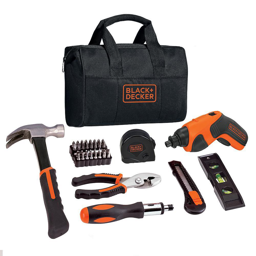 BLACK+DECKER 4V MAX Lithium-Ion Cordless Rechargeable Screwdriver Project Kit (43-Piece) with Charger and Tool Bag