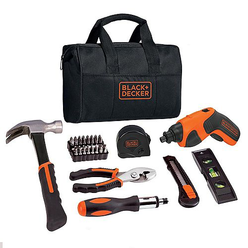 4V MAX Lithium-Ion Cordless Rechargeable Screwdriver Project Kit (43-Piece) with Charger and Tool Bag