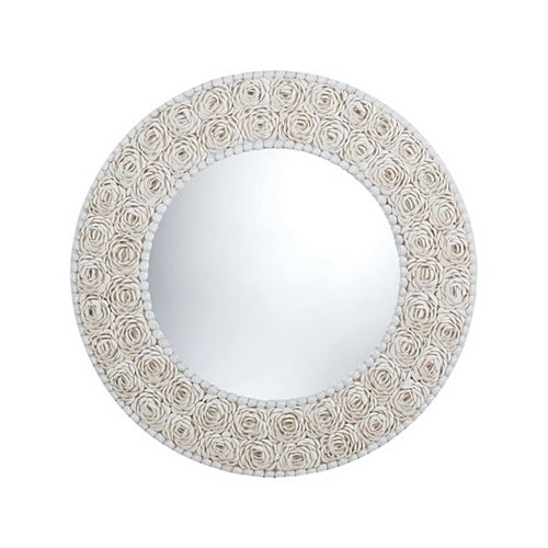 Floral Pattern Clam Shell Framed Mirror