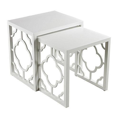 Table nicher blanc lustré