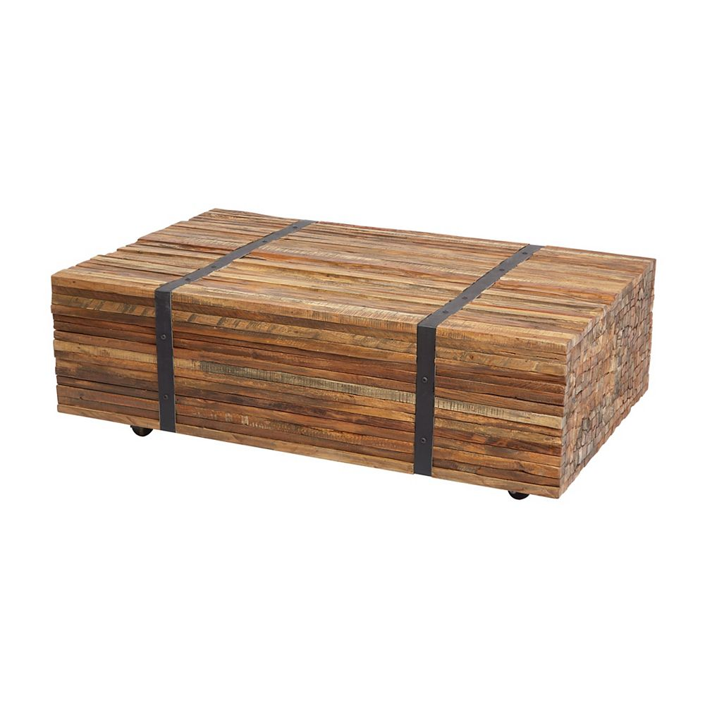 Titan Lighting Teak Strapped Coffee Table | The Home Depot ...