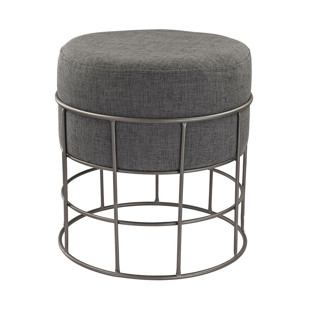 Titan Lighting Pewter Linen Accent Chair in Grey with Solid Pattern