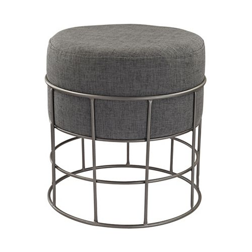 Pewter Linen Accent Chair in Grey with Solid Pattern