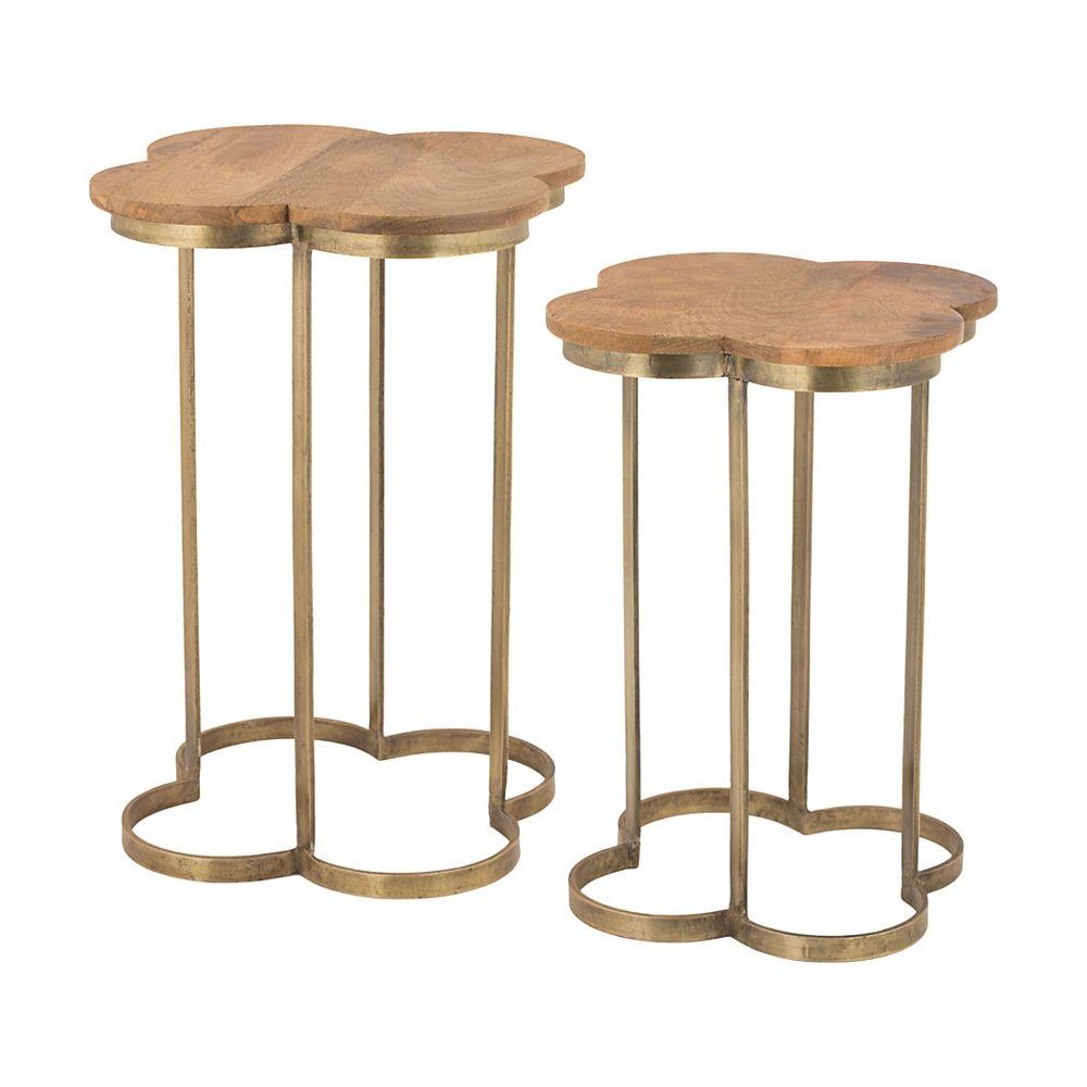 Titan Lighting Gold Leaf Quatrefoil Accent Table