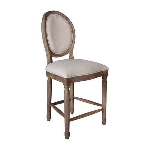 Allcott Solid Wood Beige Contemporary Bar Stool